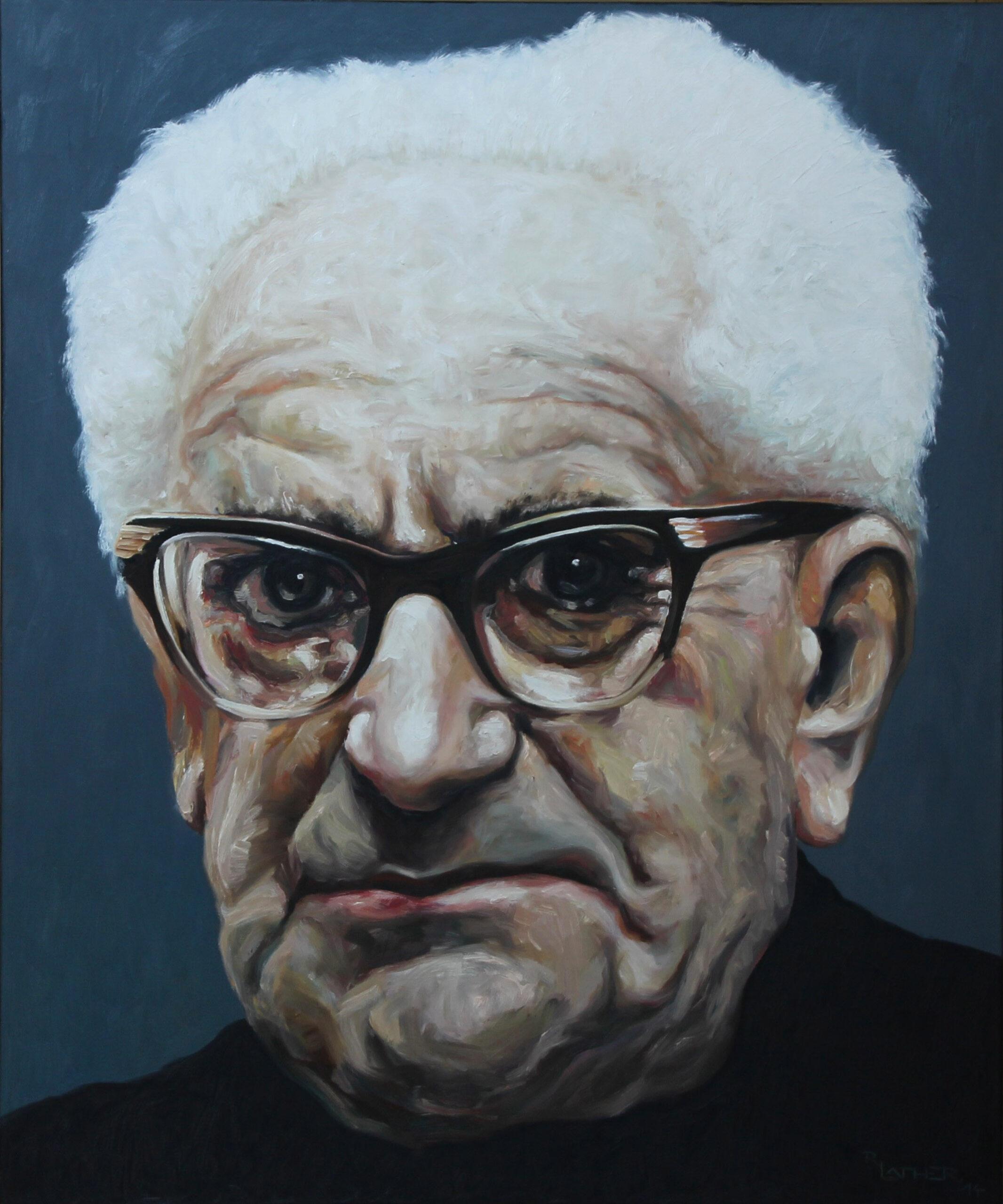 """""""Staatsanwalt, Portrait Fritz Bauer""""; Öl auf Leinwand; 120cm x 100cm; 2014"""
