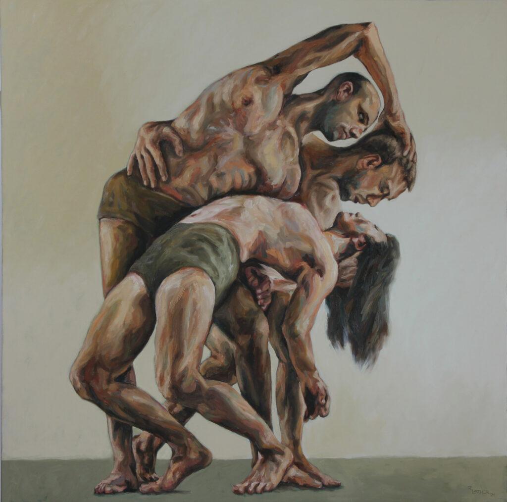 """Tanztheater 03""; Öl auf Leinwand; 160cm x 160cm; 2020"